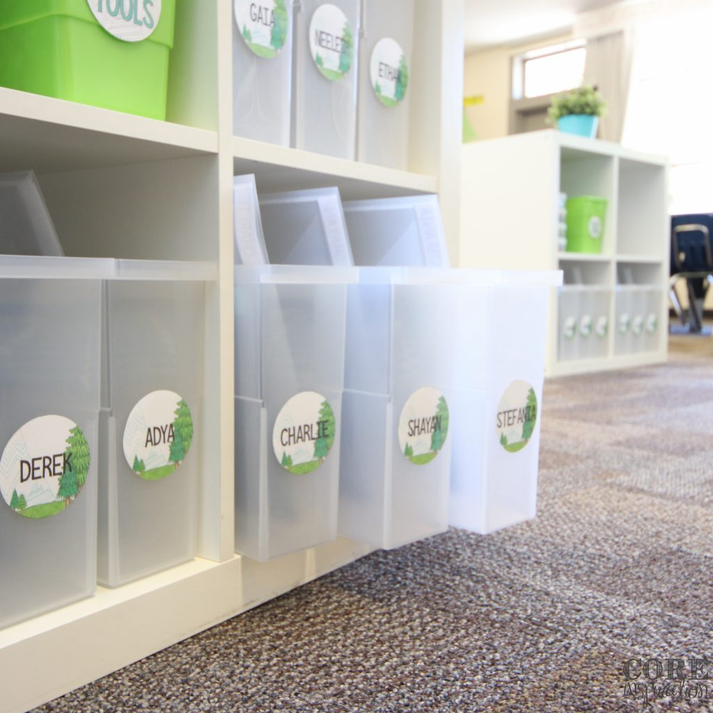 Iris small open top file boxes make the perfect student book bins.