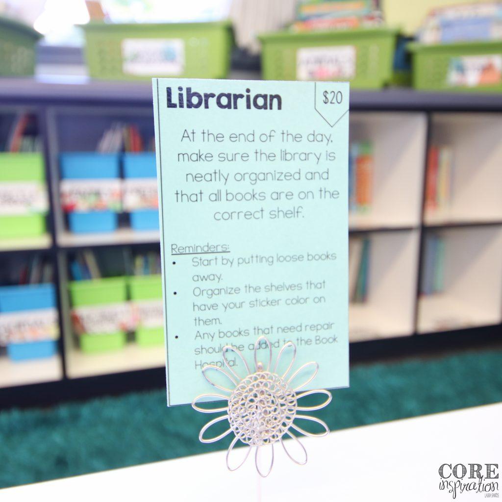 Classroom librarian job cards for class jobs.