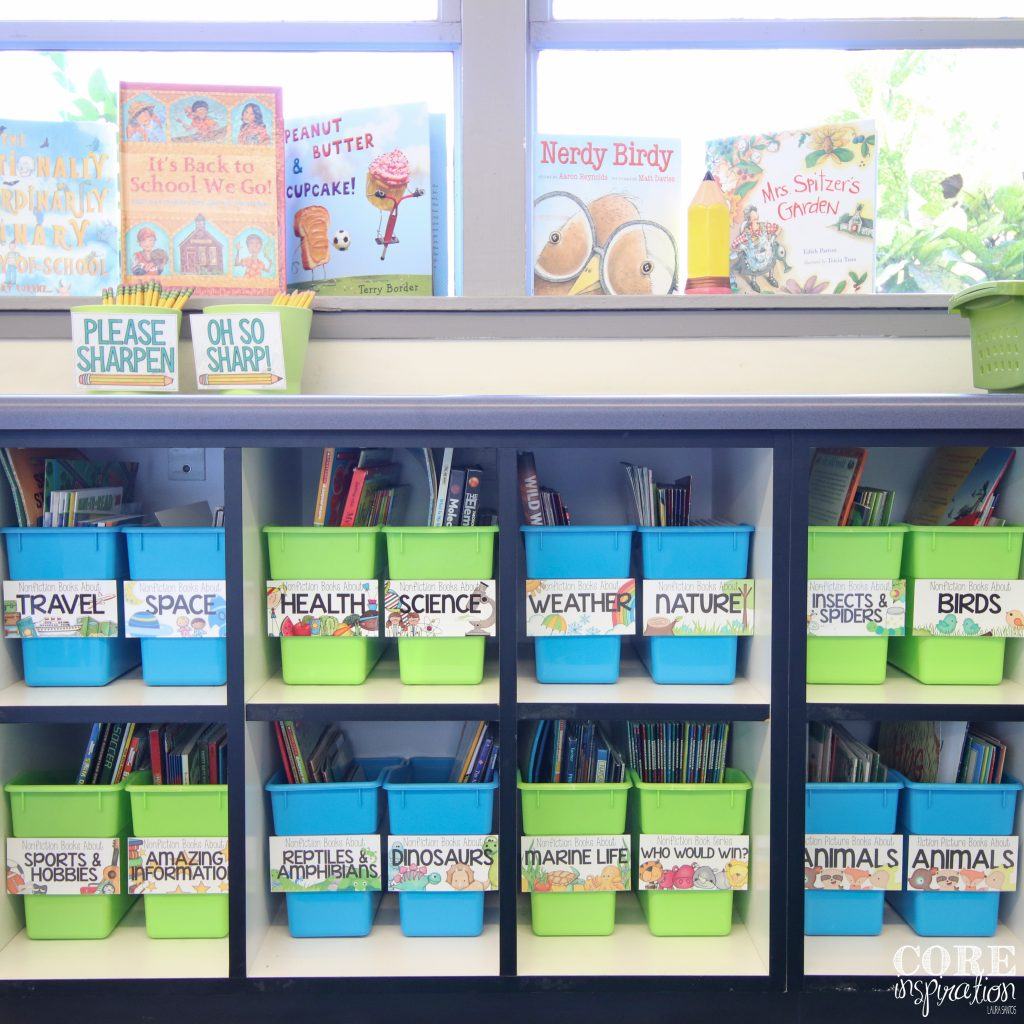 Core Inspiration classroom library - books displayed like a book store.