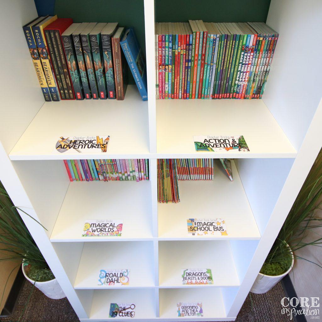 Core inspiration - white Ikea Kallax book shelf in classroom library.