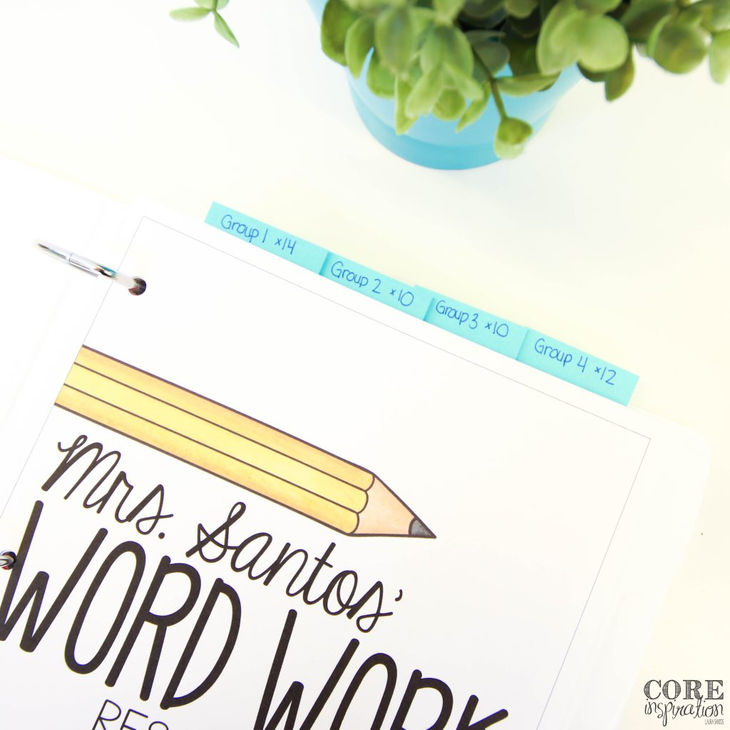 Word work teacher binder with sticky notes sticking out to mark upcoming sorts