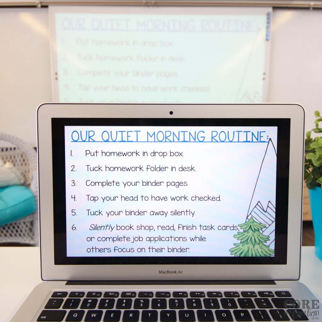 Checklist showing Core Inspiration Calm Morning Routine for the third grade classroom