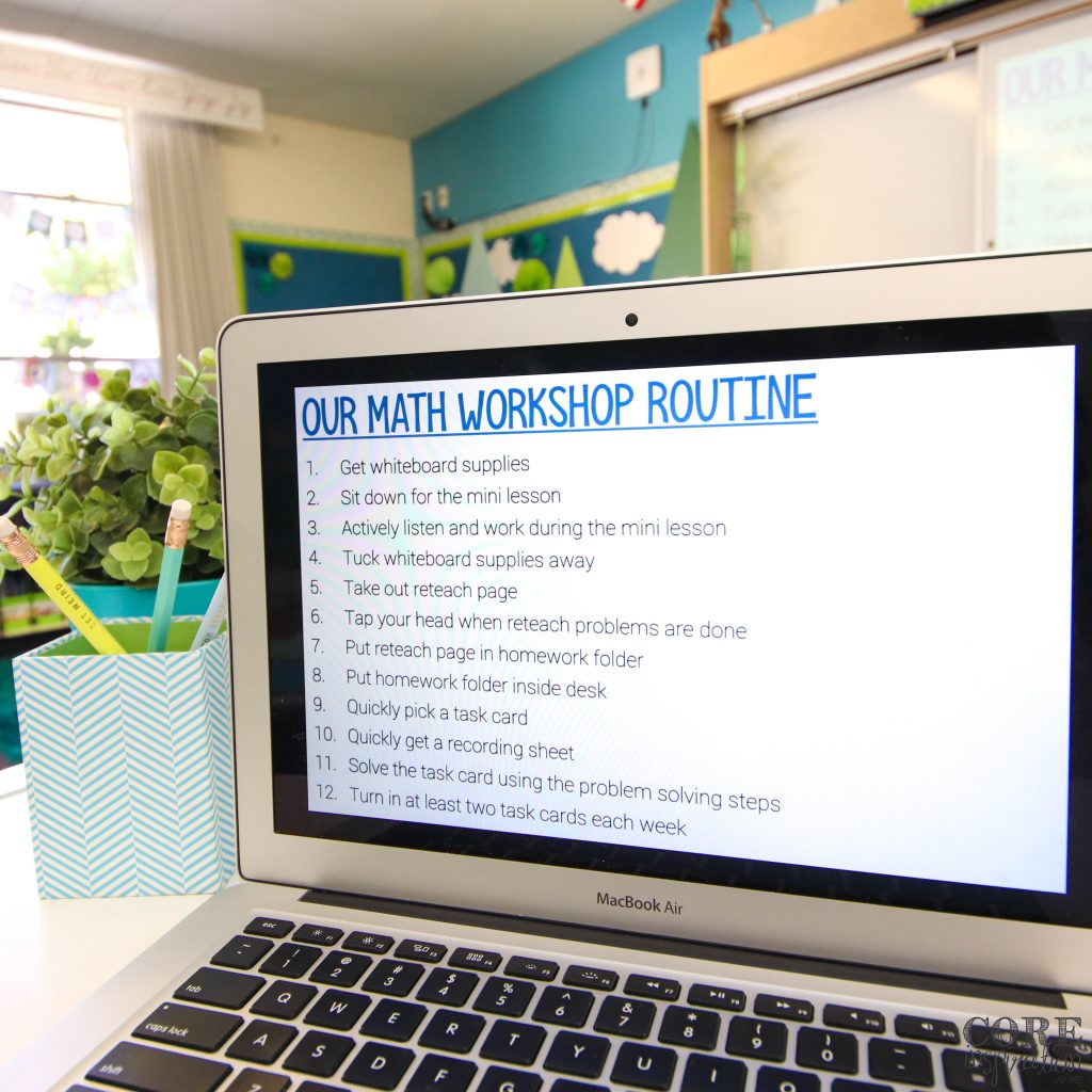 Core Inspiration's complete math workshop routine checklist for students to use as a reference as they transition from mini lesson to workshop rotations.