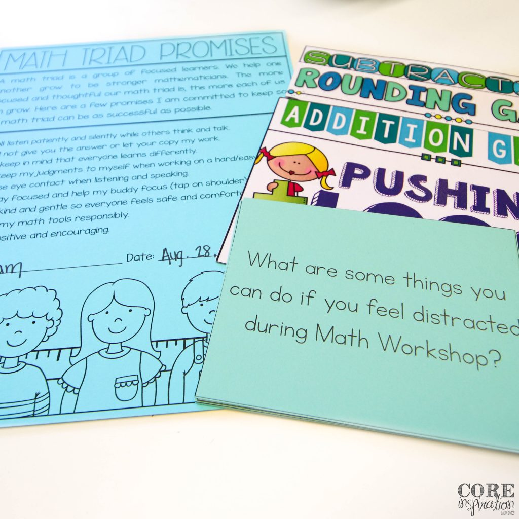 Core Inspiration math workshop supplies for week two. Includes a math triads promises contract, question prompt cards, and math game instruction cards.