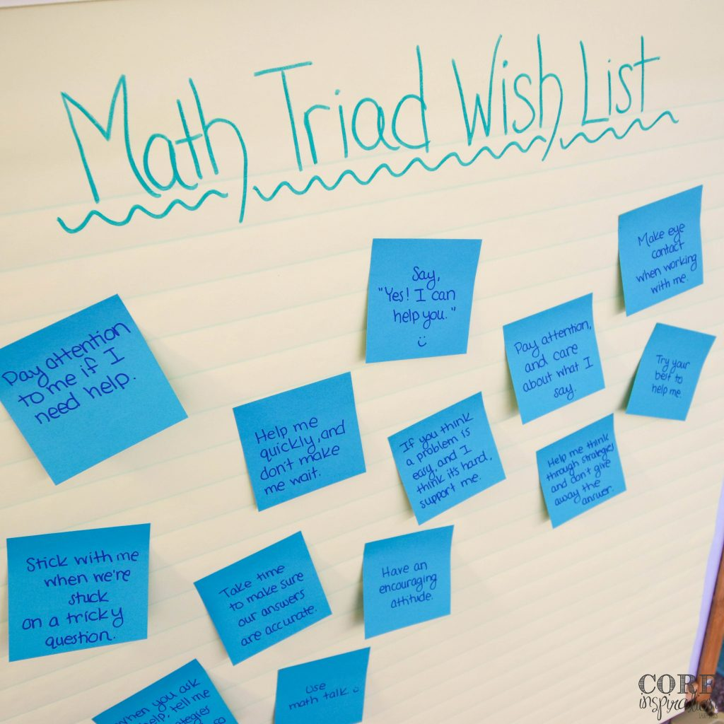 Math triad wish list with student wishes for math partner behavior written on blue sticky notes attached to an anchor chart