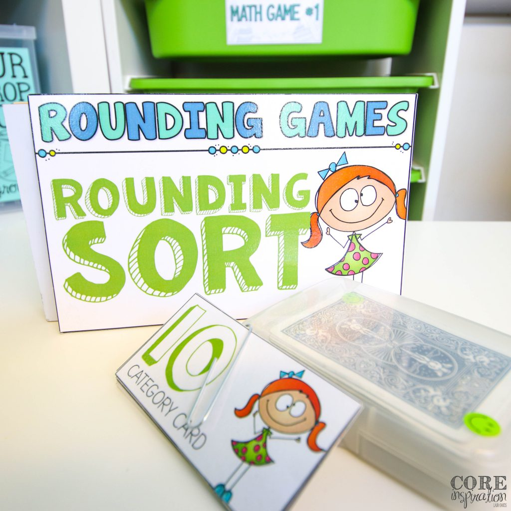 Core Inspiration's math in motion game, rounding sort supplies arrange for math game play with math game drawers in the background