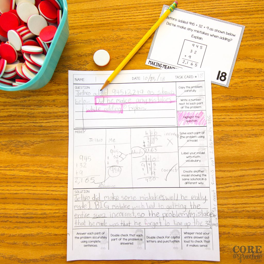 Core Inspiration math problem solving task card and record sheet on a student's desk next to a bowl of foam math counters