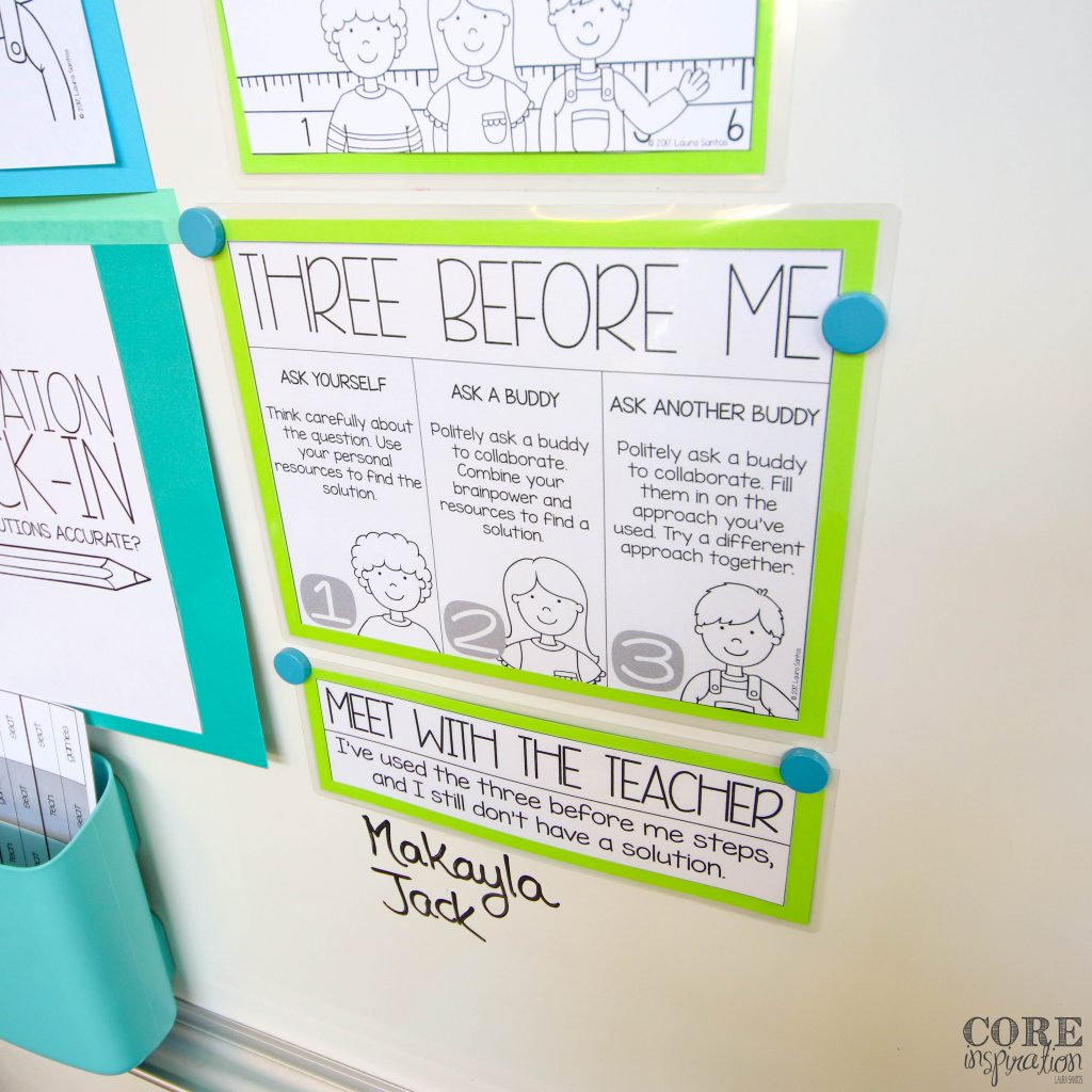 Core Inspiration's three before me sign for math workshop with a sign up list for students who want to meet with the teacher about math questions