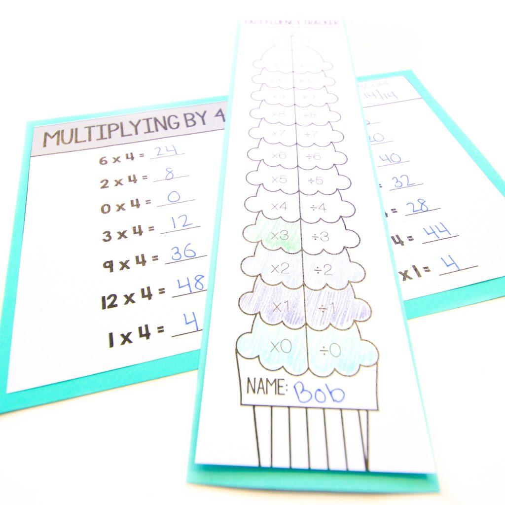 Core Inspiration fact fluency reflection sheet next to fluency tracker bookmark and fact fluency quiz