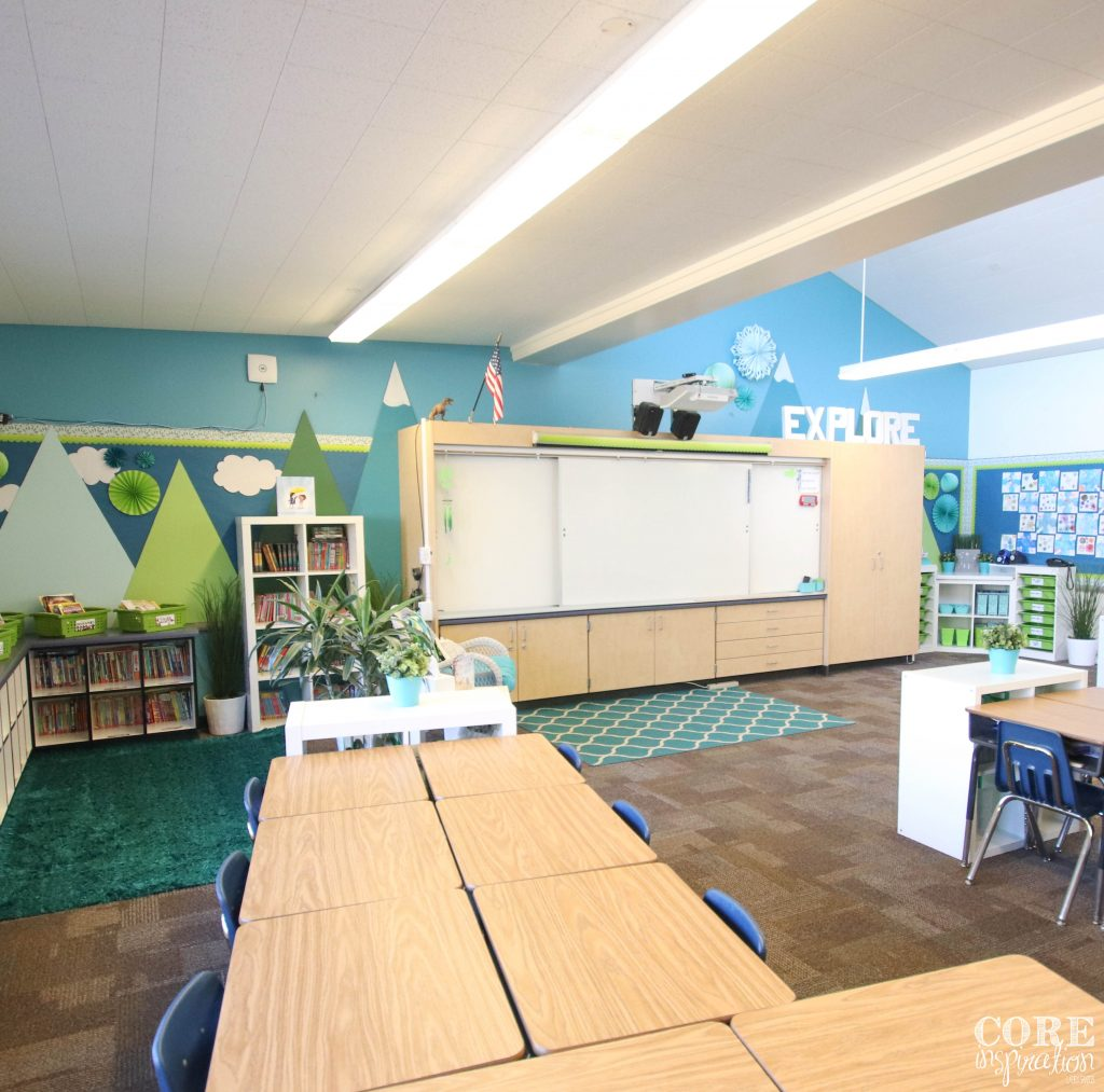 Wide angle shot of tidy classroom in January. A classroom stays tidy when students and teacher collaborate to maintain organization on a daily basis.