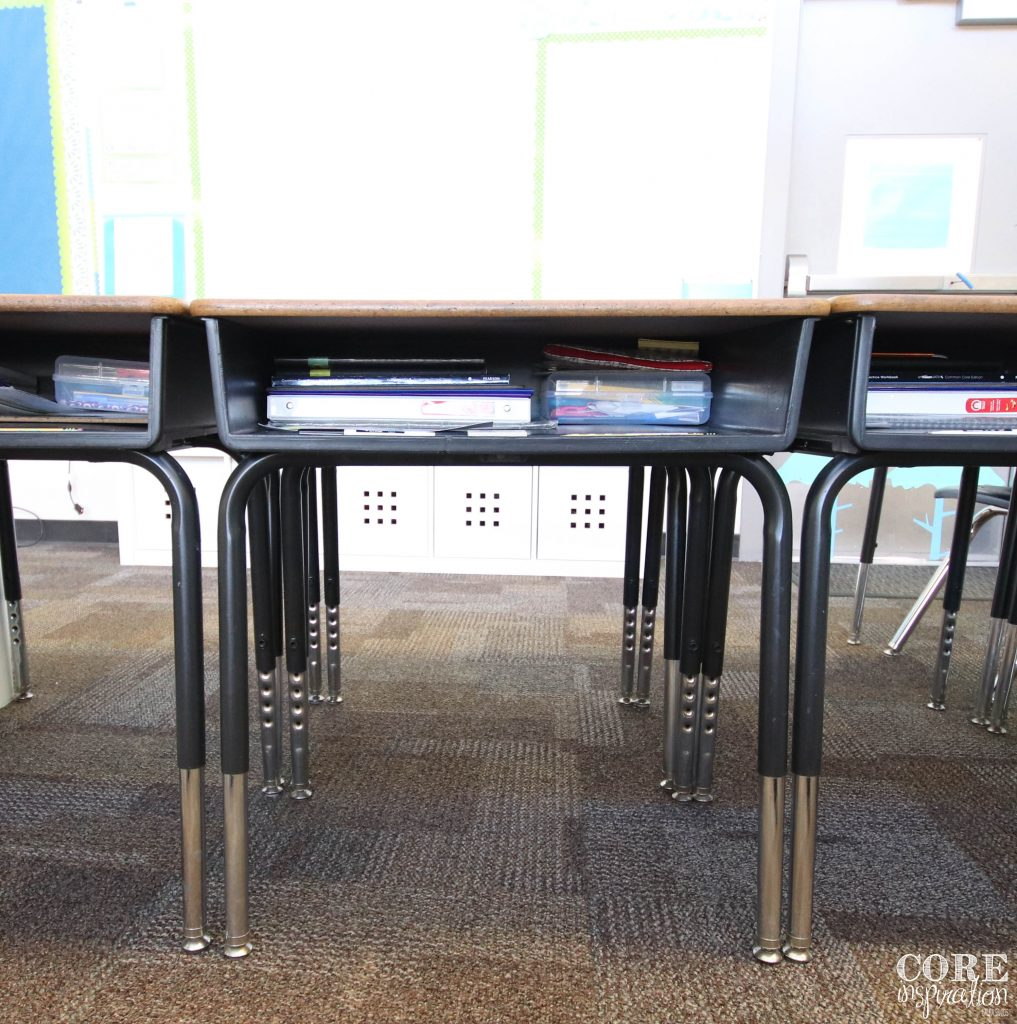Examples of organized desks. Free of loose papers, knick-knacks, and extra supplies.