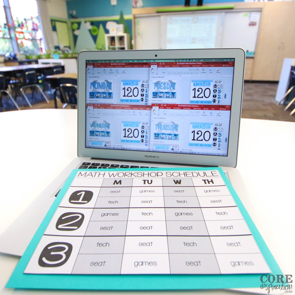 I love setting up a different deck for each day of the week so I can easily open the file that matches that day of the week and jump right into efficient classroom transitions during math workshop. I use the rotation planning grid to make setting up slide super easy at the beginning of the year.