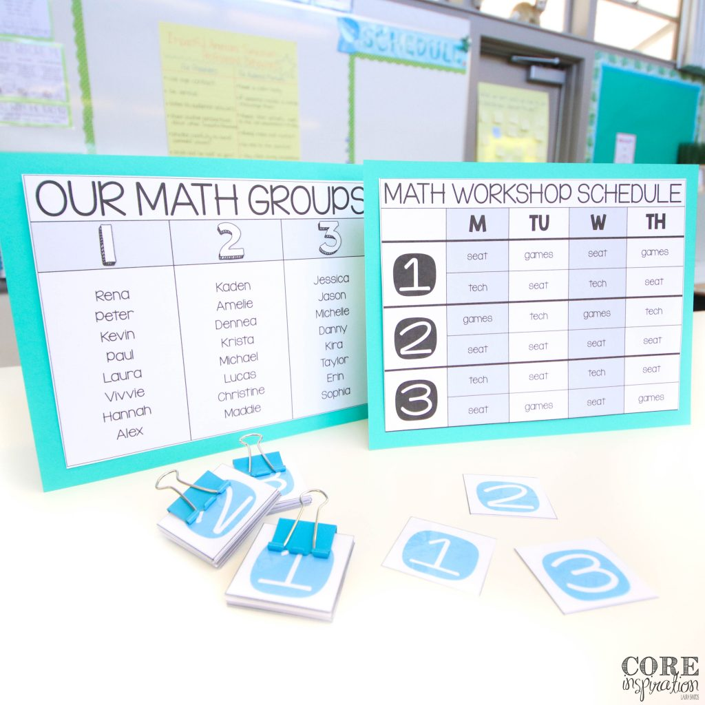 Math workshop group number assignment cards in front of weekly rotation schedule