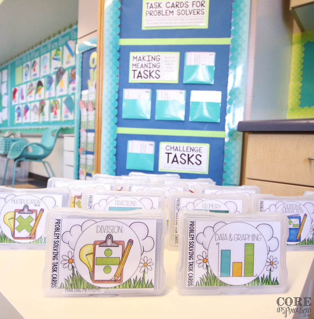 Core Inspiration math problem solving task cards sitting on table in from of task card selection board in classroom.