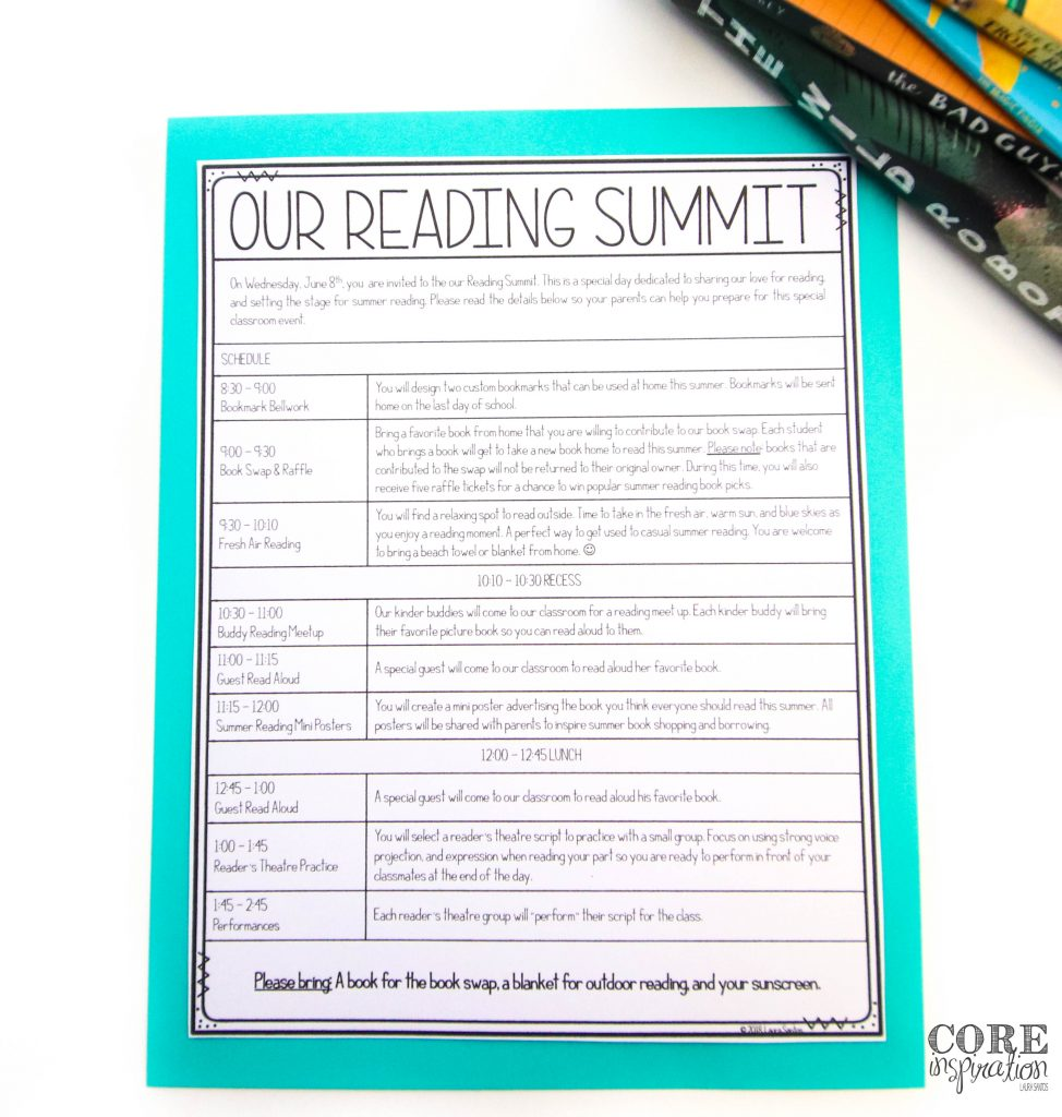 Our annual Reading Summit schedule. A day filled with celebrating our love for reading and setting summer reading goals.