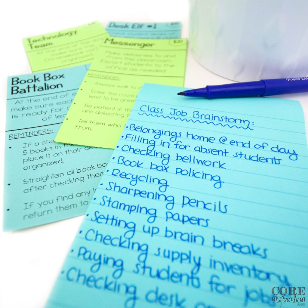 When it comes to brainstorming which class jobs you'll need to make your school day run smoothly, make a list of the tedious tasks that are important for a smooth-running classroom, but take away from your planning and grading time. These are perfect jobs for your students, and they'll love having a meaningful roll in the classroom.