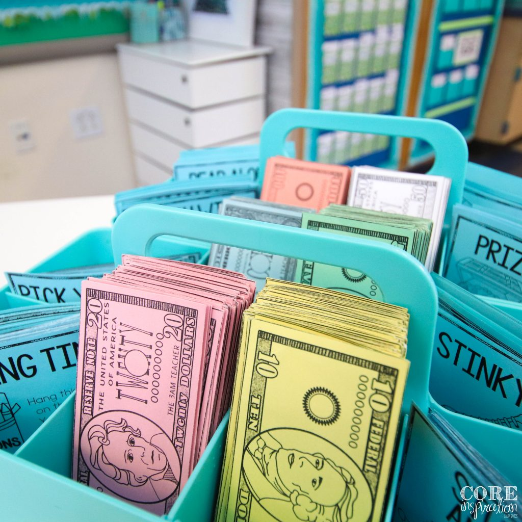These storage caddies from The Container Store are the perfect place to store our class cash.