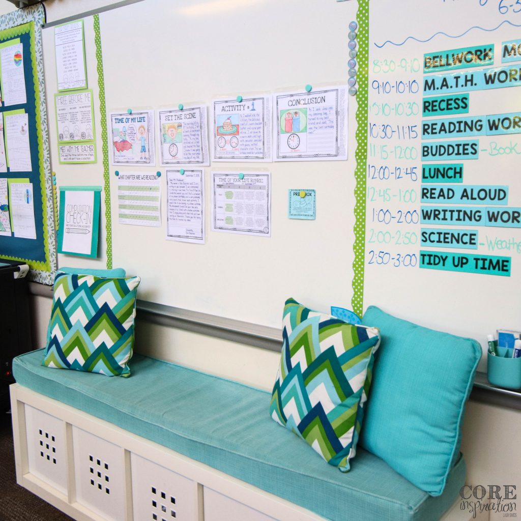 A wide angle shot of the class couch in Laura Santos's classroom.