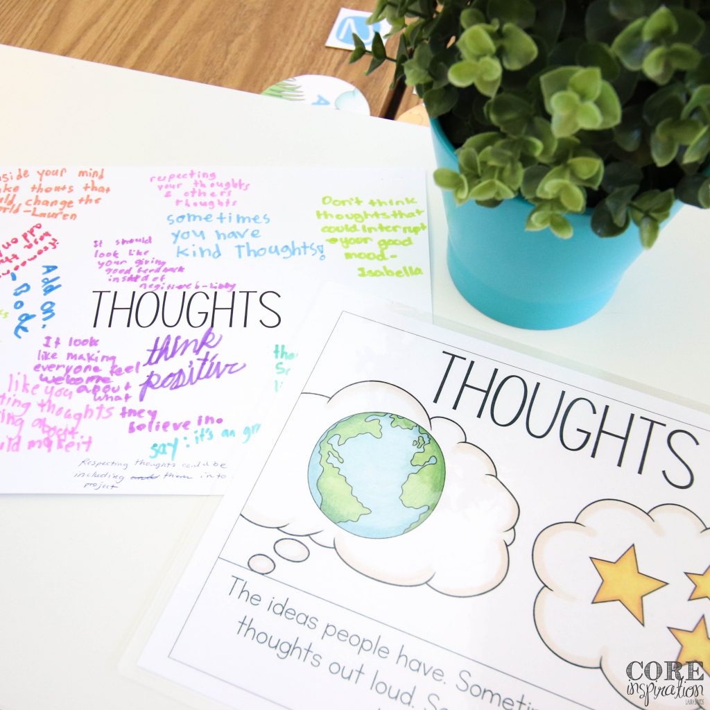 Core Inspiration respect brainstorm sitting on desk. A mini poster describing what thoughts are next to a blank sheet where students can write their ideas for showing respect to the thoughts shared in the classroom is shown.