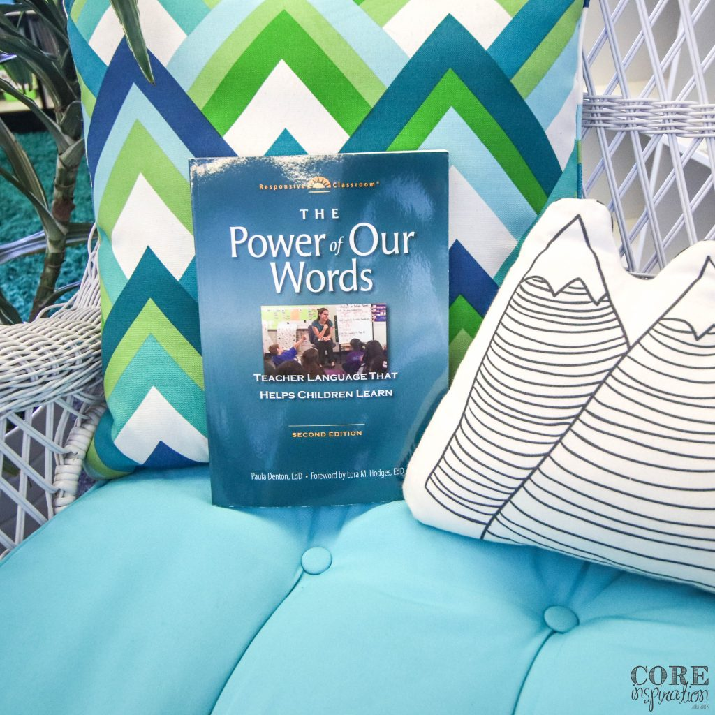 Responsive Classroom The Power of Our Words book sitting on Laura Santos's classroom library chair.
