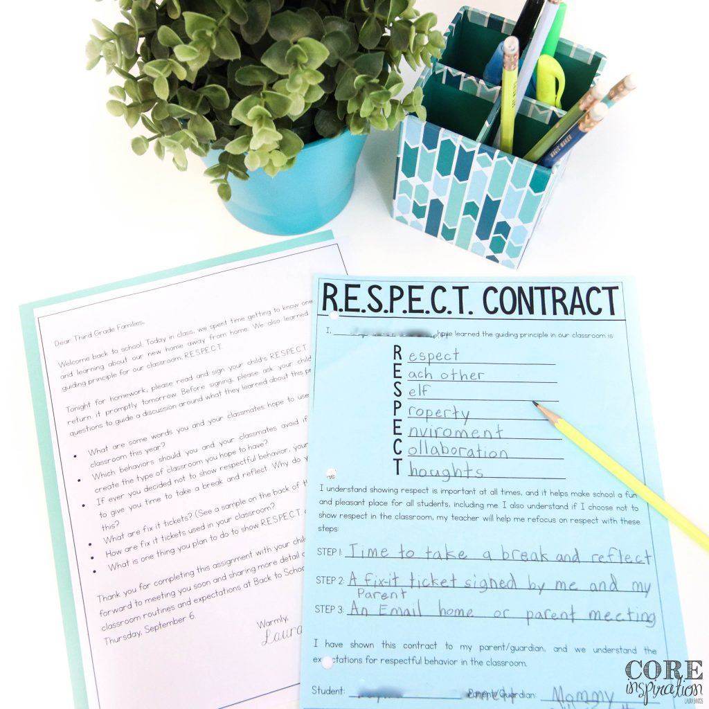 Core Inspiration R.E.S.P.E.C.T. contract laying on desk next to cover letter for parents explaining classroom routines and expectations for classroom management. Perfect to send home the first week of school when setting classroom expectations.