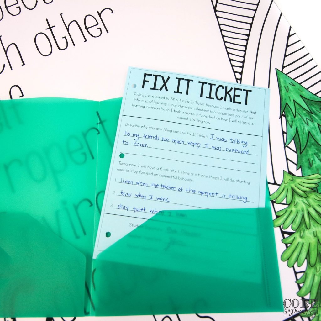 Core Inspiration fix it ticket tucked in homework folder laying on desk. Ready for student to take home so they can communicate with their parents about their behavior choices.