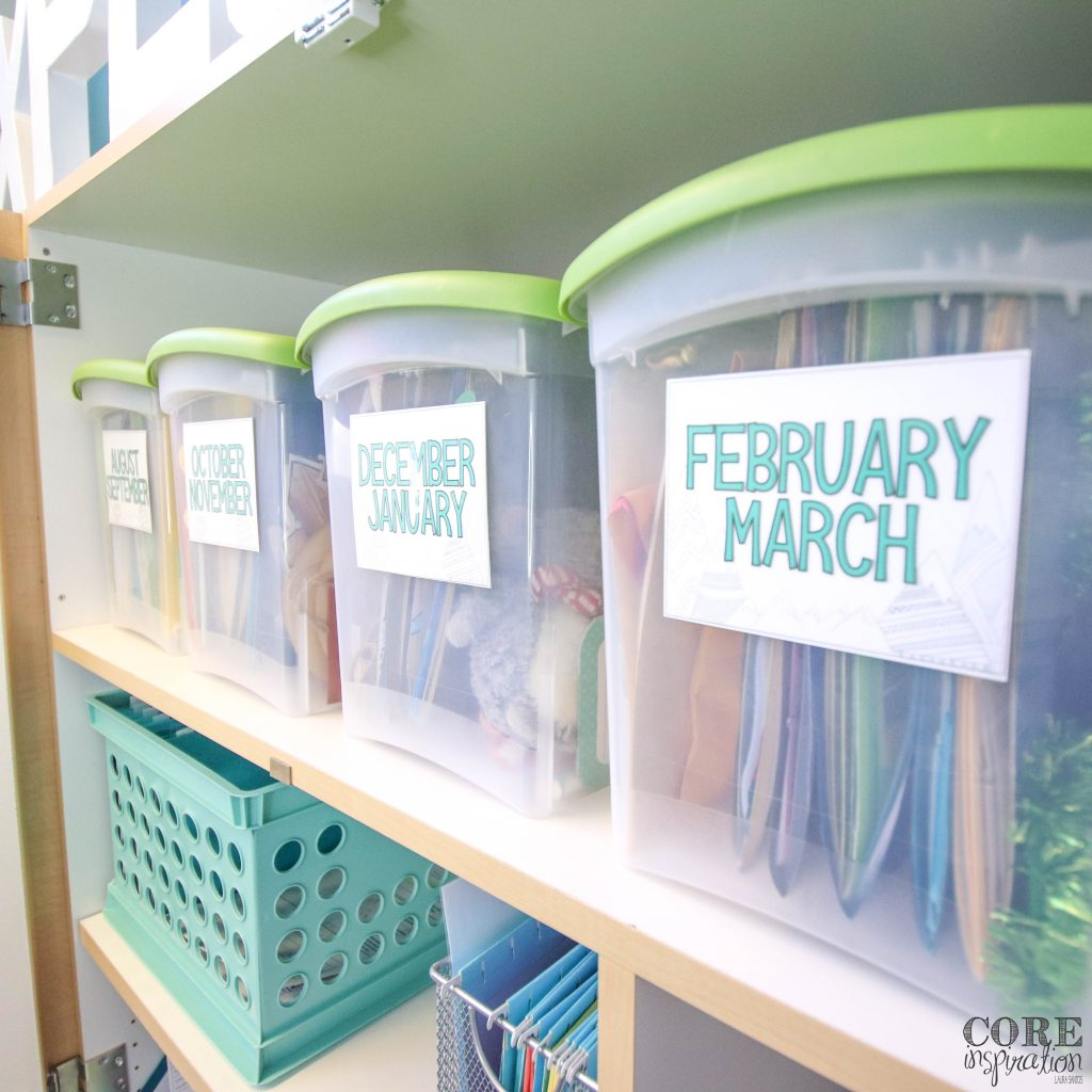 Monthly art project bin on classroom shelf help this teacher stay organized throughout the school year.