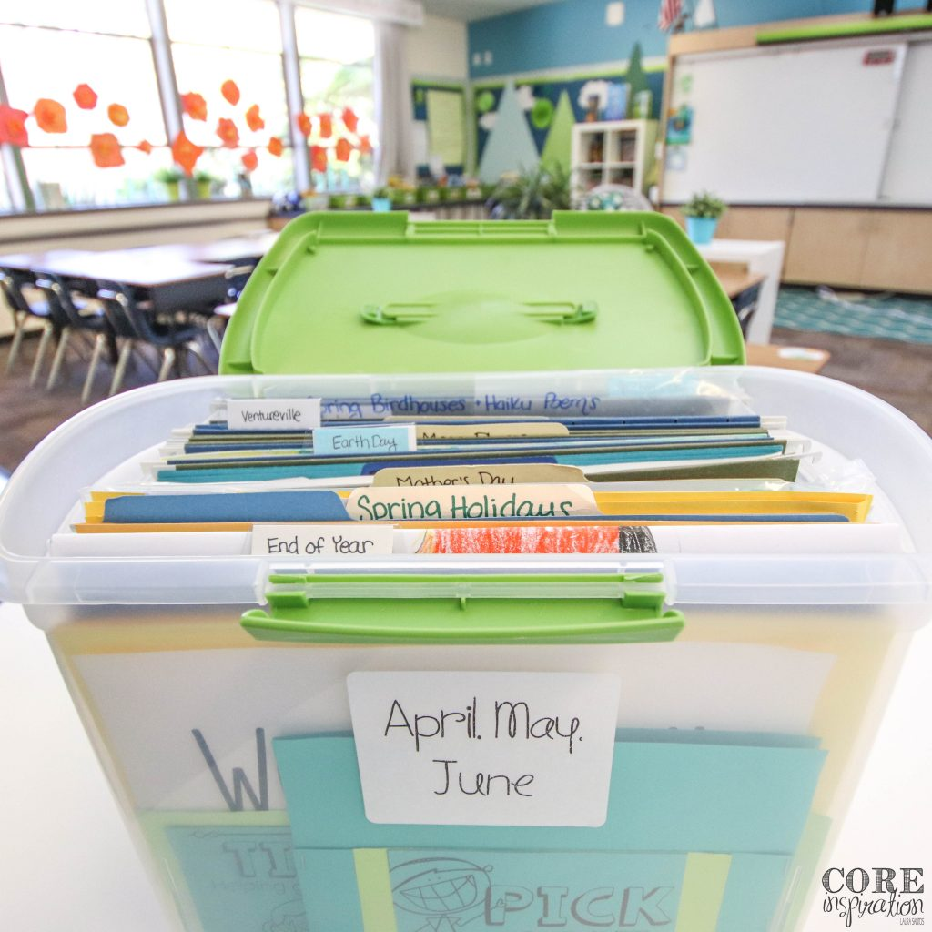 These monthly unit bins are perfect for keeping art projects and seasonal projects in good condition without the need for a filing cabinet.