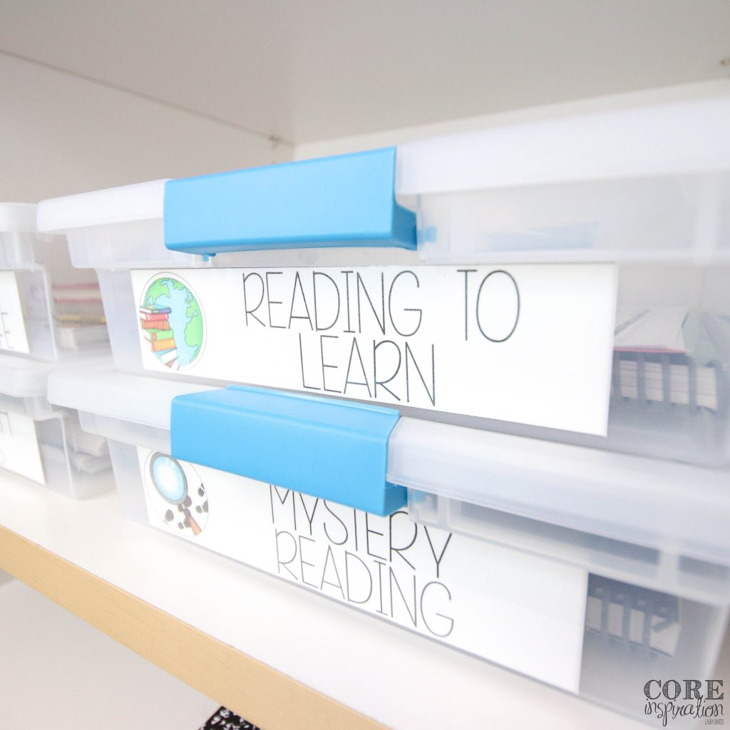 Sterilite snap top bins are perfect for storing the contents of your subject area units of study. The label on the front of each bin makes it easy to navigate your resources when they are being stored in a closet.