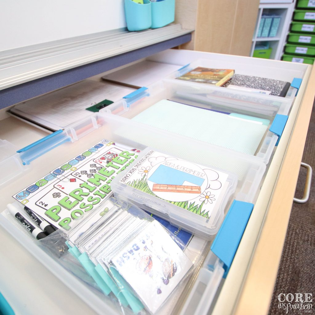 Unit bins organized inside teacher drawer making them easily accessible while teaching each unit.