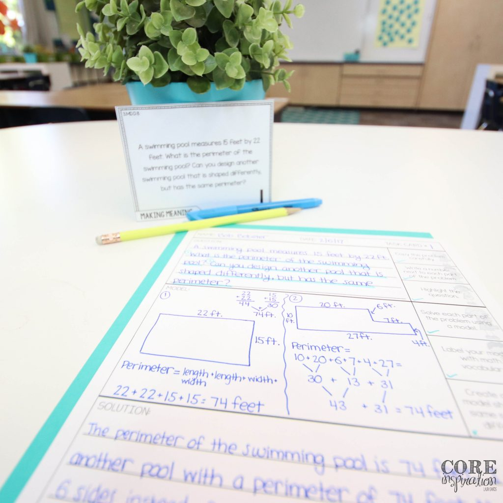 Core Inspiration problem solving task card and recording sheet laying on desk with pencil and highlighter.