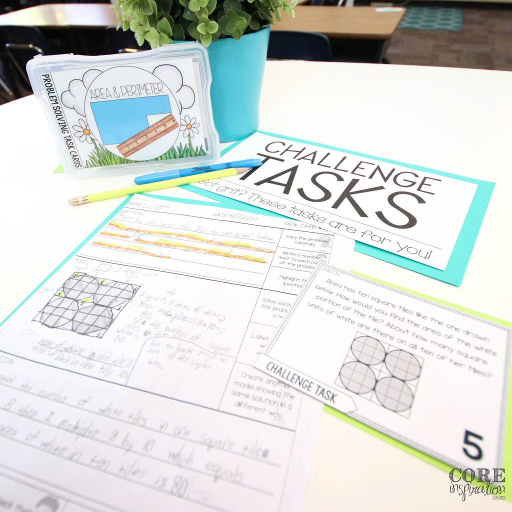 Core Inspiration problem solving challenge task sign next to challenging math problem solving task for third grade and sample recording sheet with model and math reasoning written in complete sentences.