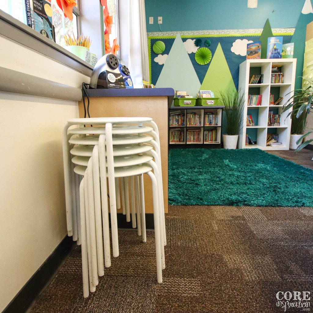 Low cost flexible seating option: Ikea stools stacked in the corner when not in use. Easy for students to access at any time.