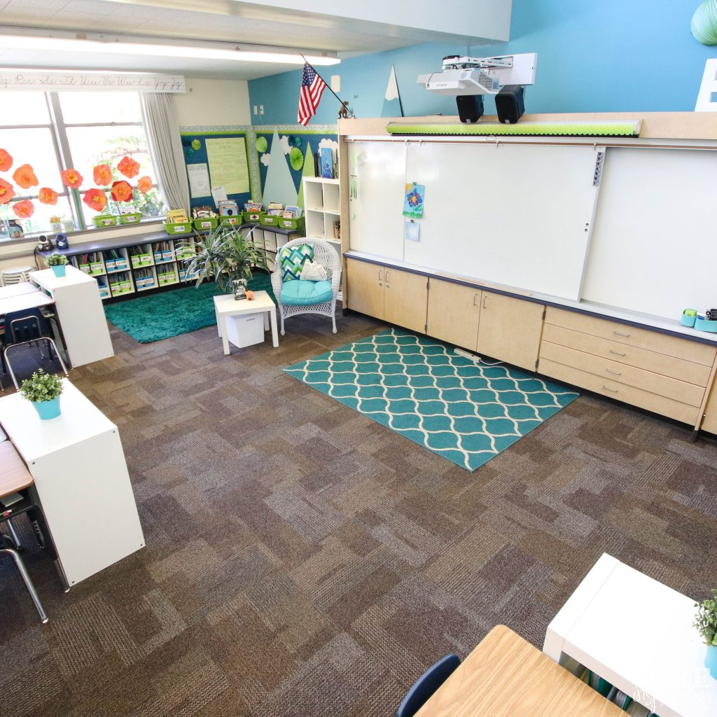 Low cost flexible seat option: rugs create seating boundaries on the floor. Students in the lower elementary grades love space to sprawl out while they work and rugs are a favorite.