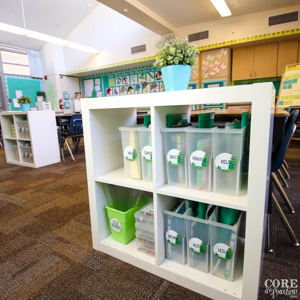 Core Inspiration classroom shelves with book bins organized after students have completed their classroom jobs.