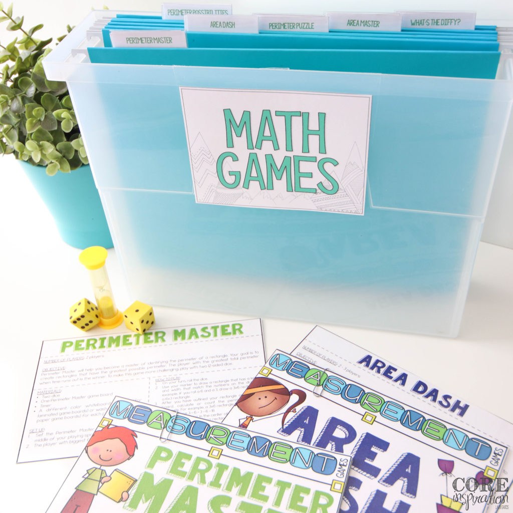 A small file bin is a perfect place to store math game instruction cards so students can independently select the game they are interested in playing during math workshop.