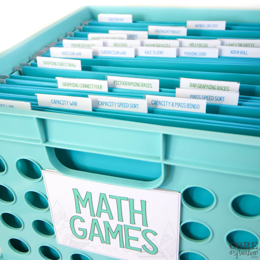 An aqua colored file bin is a perfect place to store math games in bulk if you prefer not to store them in bins or binders. This file bin has a operate file for each math game in Core Inspiration's third grade hands on math games bundle.