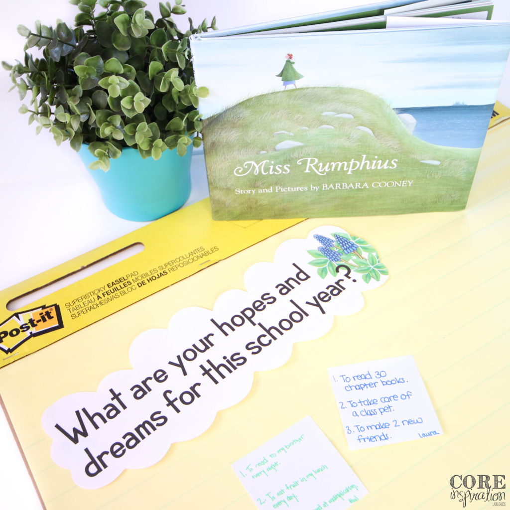 "The heading ""What are your hopes and dreams for this school. year?"" is featured on an anchor chart next to the book Miss Rumphius, which is the perfect conversation starter for students to brainstorm their hopes and dreams for the classroom this school year."