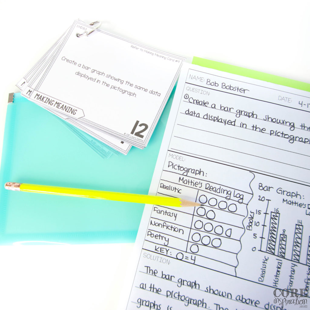 Core Inspiration data and graphing problem solving task cards are cut, hole-punched, and placed on a binder ring that can be tucked into a small plastic bag or plastic reusable envelope for safe keeping. This helps task cards last from year to year without being damaged.