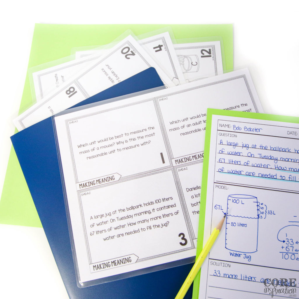 Core Inspiration word problem solving tasks laminated and stored in a plastic folder that students can easily grab, take to their seat, and start solving problems without delay during math workshop