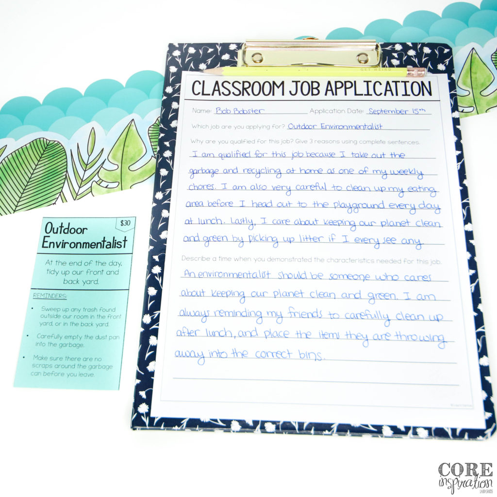 Completed Core Inspiration classroom job application sitting next to job card.