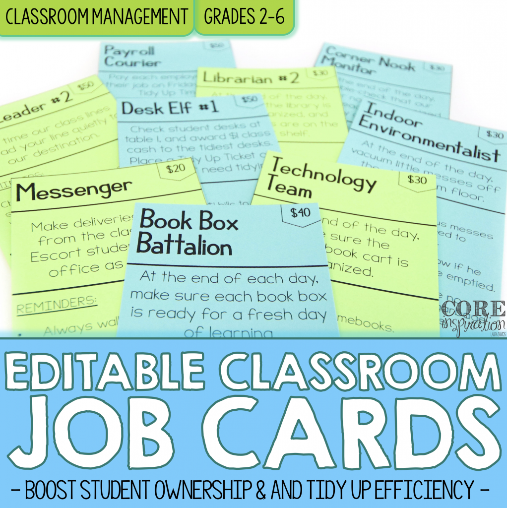 Cover Core Inspiration Free Editable Classroom Job Cards Resource