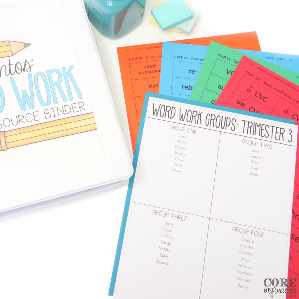 Differentiated word work groups written on group organizer printable laying on top of word sorts printed on different colors depending on group.