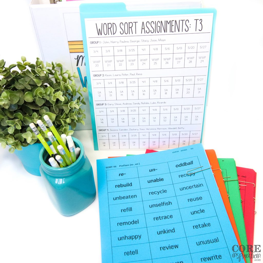 Core Inspiration Word Word binder and Differentiated word work sort assignments printable on display next to Words Their Way sorts copied on different colored papers.