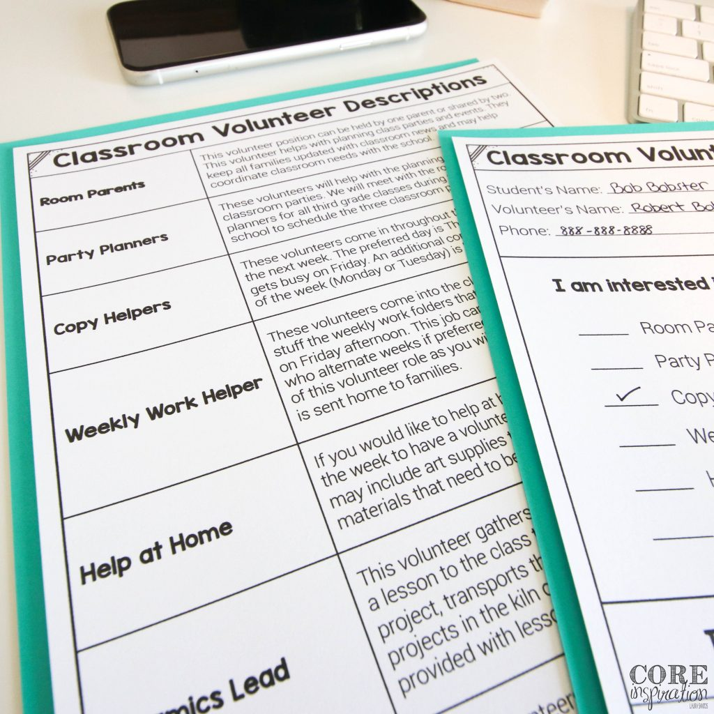 """A sheet titled """"Classroom Volunteer Descriptions"""" laying next to a cell phone and a classroom volunteer sign up sheet. Each description shows the name of the volunteer position the teacher needs along with a blurb that describes the roles of that position."""