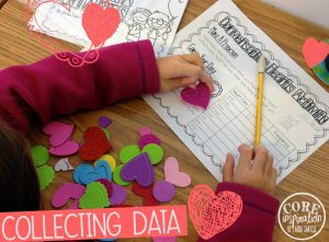 Students create a frequency table to show the number of hearts they have.
