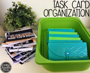 Organize math task cards in recipe/index card files