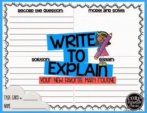 Write To Explain Task Card Recording Sheet
