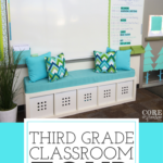 This third grade classroom is an elementary teacher's dream. Bright blues and green. Love the way the classroom uses flexible seating without the need to have special chairs and tables - uses the open space so efficiently. Students have access to their learning supplies so they can stay organized, and independent. Perfect space for self directed learning.