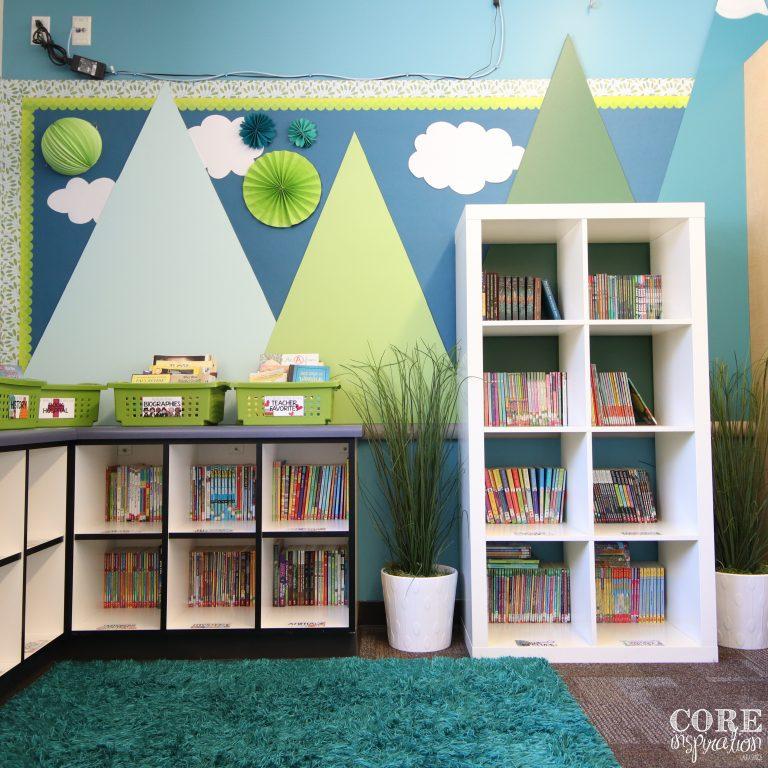 Core Inspiration Third Grade Classroom Library Corner - shelves against walls